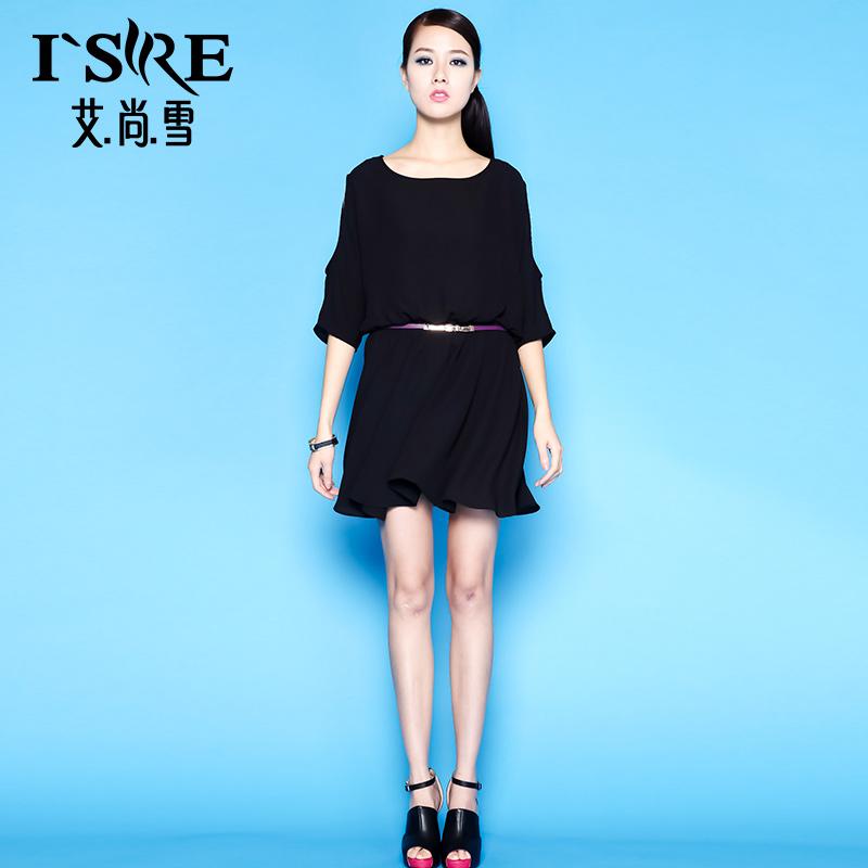 艾尚雪春夏新款韩版蝙蝠袖女装时尚甜美纯色气质收腰连衣裙35136