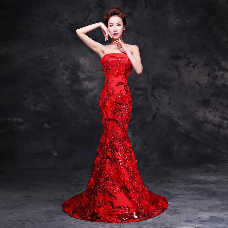 紫缘萱长款晚礼服裙2016春夏新款抹胸新娘结婚敬酒服红色蕾丝修身