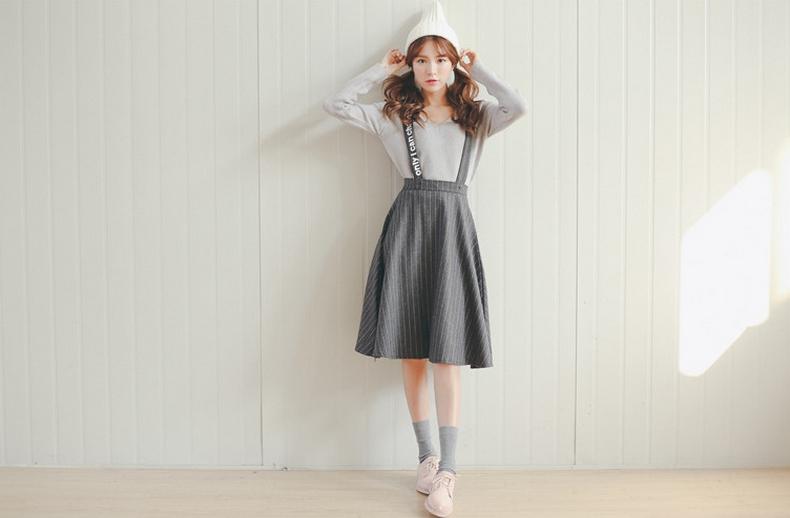 2016春季新款 韩版女装复古竖条纹毛呢背带大摆裙半身裙子中长裙
