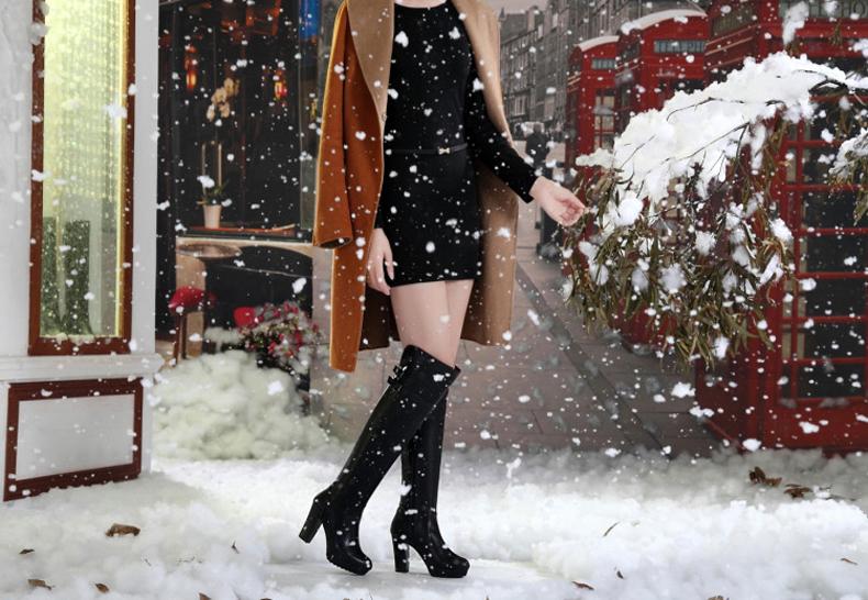 2015冬季长筒靴粗跟女鞋真皮高筒靴高跟防水台女士长靴过膝女靴