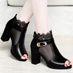 百年纪念春夏新款女鞋鱼嘴凉鞋网纱蕾丝时尚高跟鞋粗跟英伦女鞋子