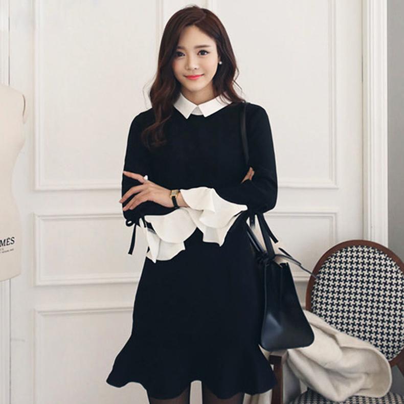 月想容2015韩版娃娃领针织连衣裙秋装喇叭袖修身长袖打底裙小黑裙
