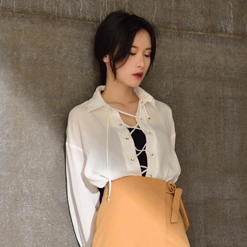 春夏雪纺衫显瘦宽松百搭白色系带衬衫女韩范长袖镂空春夏防晒上衣