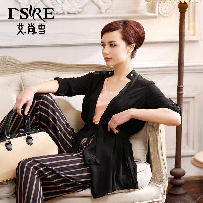 艾尚雪春夏新款雪纺七分袖外套女时尚干练百搭内外两件套装21308