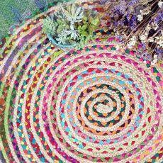手工地垫印度黄麻圆形美式家居毯子客体卧室榻榻米垫子民族风地毯