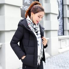 轻薄羽绒服女韩版短款2017新款时尚百搭学生bf宽松连帽黑色外套潮