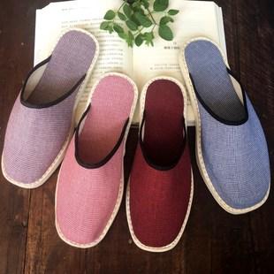 透气纯棉布拖鞋男女春秋防滑室内外穿布鞋平底包头手工千层底拖鞋