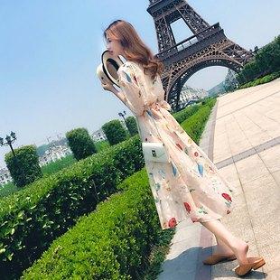 雪纺连衣裙女夏2018新款女装imiss裙超仙长裙甜美风chic气质裙子