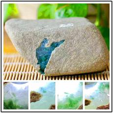 天然缅甸翡翠原石赌石莫西沙冰种开窗料牌子手镯料玉石毛料