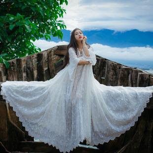 春夏新款白色蕾丝刺绣大摆连衣裙复古森女海边度假收腰仙气长裙