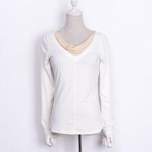 春装休闲女款上衣2018新款时尚撞色显瘦长袖针织T恤韩版潮KD315