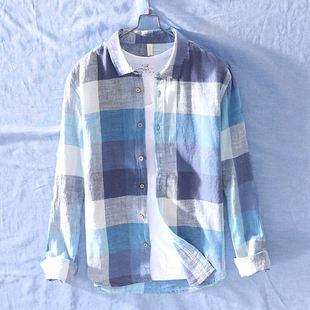 港风亚麻格子衬衫男长袖宽松薄款日系潮流韩版外套休闲棉麻衬衣潮