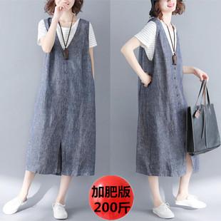 孕妇棉麻背带裙女夏 特大码v领无袖衬衫亚麻连衣裙过膝长裙200斤
