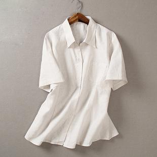 2019新款职业装女装棉麻短袖衬衫小V领方领纯色暗细条纹工装促销