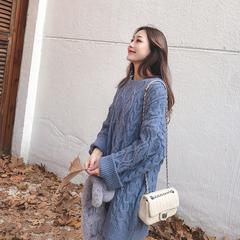 2018新款秋冬季韩版宽松套头毛衣女加厚打底针织过膝中长款连衣裙