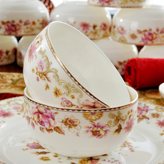 景德镇28/56头骨瓷餐具套装陶瓷器韩式碗碟盘套装微波炉结婚送礼