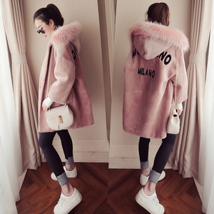 2016冬季新款韩国中长款连帽毛呢外套女宽松显瘦加厚毛领呢子大衣羊绒大衣