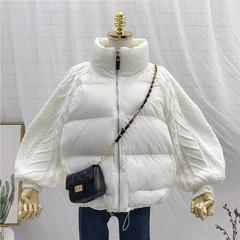 针织拼接袖短款棉衣女装宽松显瘦棉袄冬季新款韩版小个子网红外套