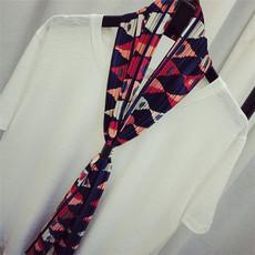 韩国春夏季新款细窄长款围巾百搭皮扣丝巾时尚不规则图案领巾女