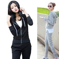 韩版大码女装早秋季长袖运动服时尚休闲宽松春秋卫衣学生三件套装