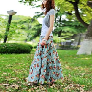 夏季新款波西米亚麻裙棉麻裙拼接长裙半身裙子田园碎花裙子松紧腰