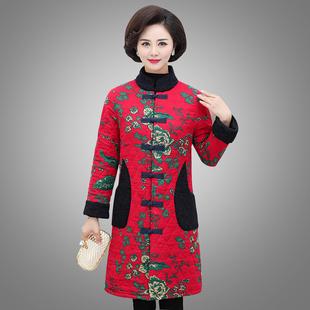 妈妈装大码棉麻唐装盘扣棉衣外套中老年女冬装长款显瘦民族风棉服