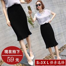 韩版夏季女装高腰中长款包臀鱼尾半身裙大码百搭雪纺百褶荷叶边裙
