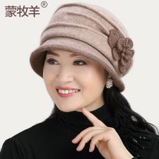 蒙牧羊 羊毛呢盆帽女小礼帽花朵褶皱中年妈妈婆婆帽子休闲渔夫帽