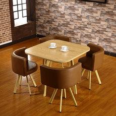 商务洽谈桌椅组合钢化玻璃餐桌接待会客小户型桌椅一桌四椅咖啡桌
