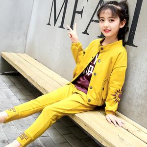 2018新款女童装春装大童春秋韩版女孩时尚潮衣服儿童运动洋气套装童装