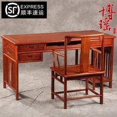 红木电脑桌台式桌实木家具书桌非洲黄花梨木写字台家用简约办公桌