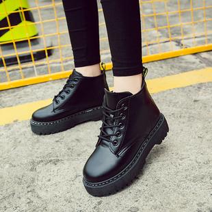 冬季英伦风马丁靴女短靴学生高帮雪地靴短筒休闲棉鞋子冬加绒皮靴