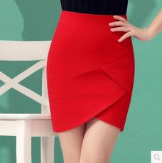 春夏新款半身裙女韩版高腰弹力短裙不对称中裙一步裙职业包臀裙