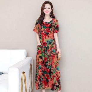 棉麻连衣裙夏季新款加肥加大码女长裙花色连衣裙长款短袖沙滩裙
