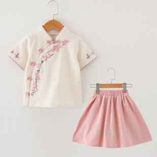 1一2岁女宝汉服3夏装短袖两件套装4女童中国风唐装5公主裙子6棉麻