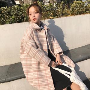 秋冬韩版复古格子仿羊羔毛中长款茧型加厚呢子大衣学生风衣外套女毛呢大衣