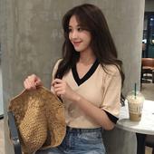 春夏女装2018新款韩版薄款V领拼色修身显瘦短袖T恤上衣学生打底衫