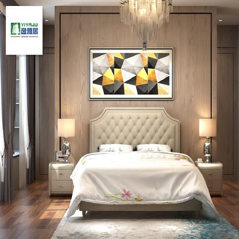 欧式布艺床双人软包床1.8米简欧婚床主卧北欧风格床现代简约卧室