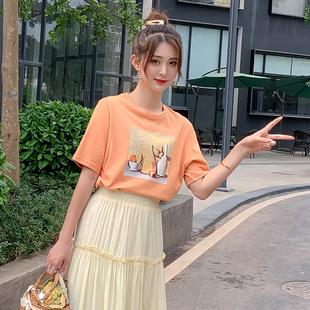 橘色t恤女宽松韩版慵懒短袖女2019新款纯棉个性油画印花ins设计感