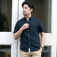 透气短袖 潮流帅气休闲亚麻薄款 男士 格慕施棉麻衬衫 韩版 衬衣男装
