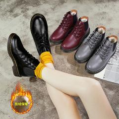 2018新款冬季马丁靴女英伦学院风加绒棉鞋学生韩版百搭原宿风短靴