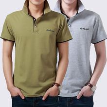 青年带领上衣服 韩版 短袖 潮流男装 男士 T恤夏天有领纯棉翻领polo衫