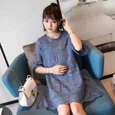 孕妇夏装两件套莫代尔上衣搭配潮妈甜美蕾丝裙春装夏季套装连衣裙