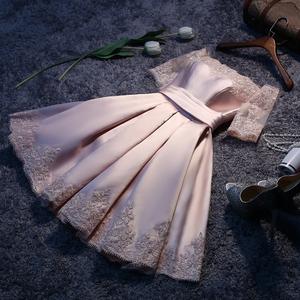 2016新款秋伴娘服短裙礼服短款一字肩晚礼服宴会新娘结婚敬酒服女伴娘服