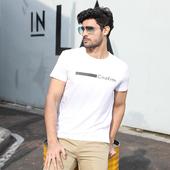 男T恤白倍儿帅气精神稳重 圆领短袖 品牌男装 CinzKrtm2019夏季新款