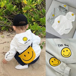 辰辰妈婴童装婴儿春装新款笑脸连帽宝宝风衣外套女 1-3岁男童上衣童装