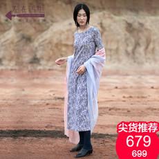 生活在左2018春季新款纯棉连衣裙中长款文艺复古修身长袖女
