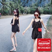 游泳衣女三件套韩国温泉小香风学生保守遮肚显瘦连体裙式泳装