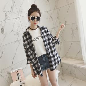 2017春装新款女装韩版宽松中长款黑白格子衬衫女百搭长袖衬衣外套女式衬衫