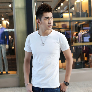纯白短袖男士T恤纯色半袖纯棉夏季潮圆领打底衫空白手绘韩版修身